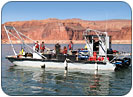 lake powell sunken airplane recovery boat